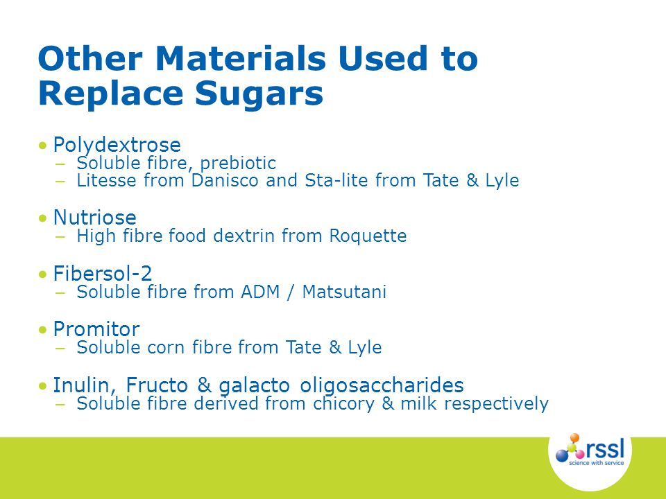 Polydextrose – Soluble fibre, prebiotic – Litesse from Danisco and Sta-lite from Tate & Lyle Nutriose – High fibre food dextrin from Roquette Fibersol-2 – Soluble fibre from ADM / Matsutani Promitor – Soluble corn fibre from Tate & Lyle Inulin, Fructo & galacto oligosaccharides – Soluble fibre derived from chicory & milk respectively Other Materials Used to Replace Sugars