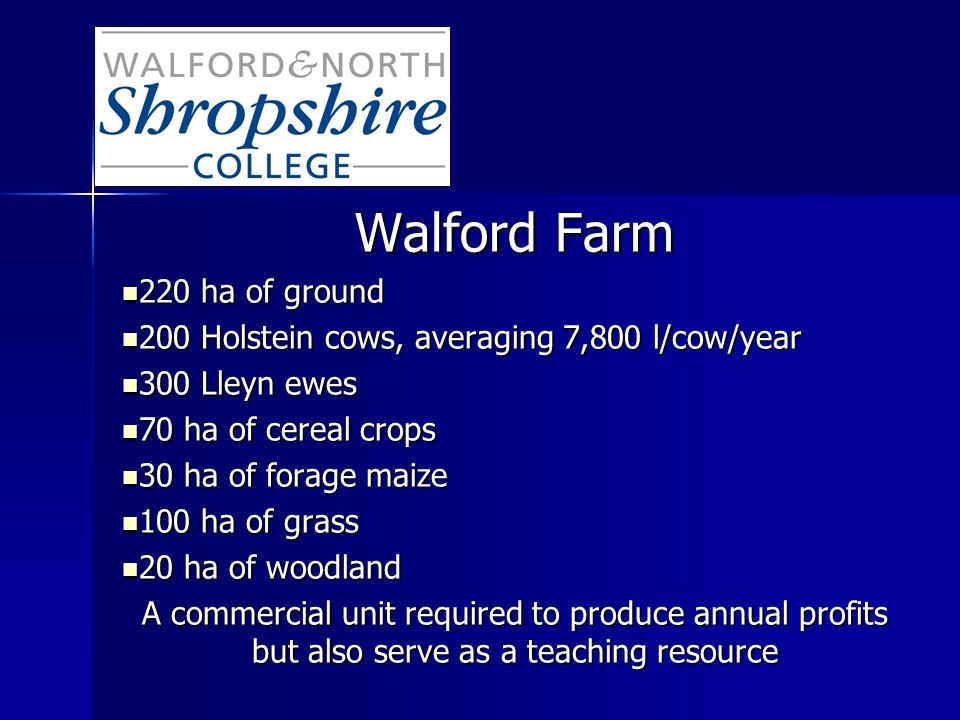 Walford Farm 220 ha of ground 220 ha of ground 200 Holstein cows, averaging 7,800 l/cow/year 200 Holstein cows, averaging 7,800 l/cow/year 300 Lleyn ewes 300 Lleyn ewes 70 ha of cereal crops 70 ha of cereal crops 30 ha of forage maize 30 ha of forage maize 100 ha of grass 100 ha of grass 20 ha of woodland 20 ha of woodland A commercial unit required to produce annual profits but also serve as a teaching resource
