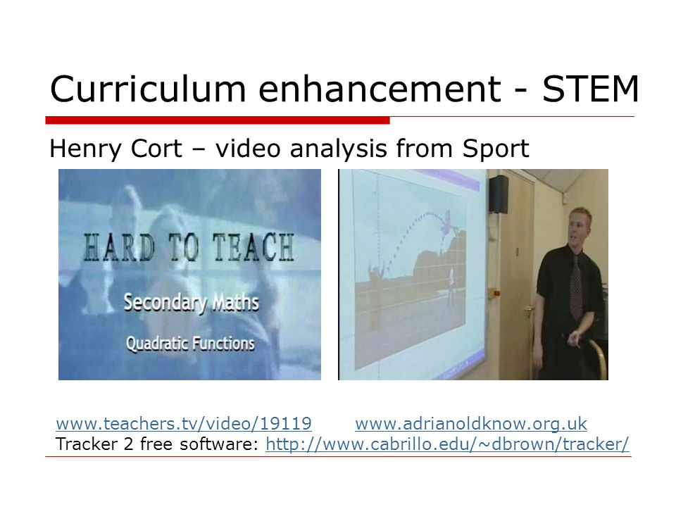 Curriculum enhancement - STEM Henry Cort – video analysis from Sport www.teachers.tv/video/19119www.teachers.tv/video/19119 www.adrianoldknow.org.ukwww.adrianoldknow.org.uk Tracker 2 free software: http://www.cabrillo.edu/~dbrown/tracker/http://www.cabrillo.edu/~dbrown/tracker/
