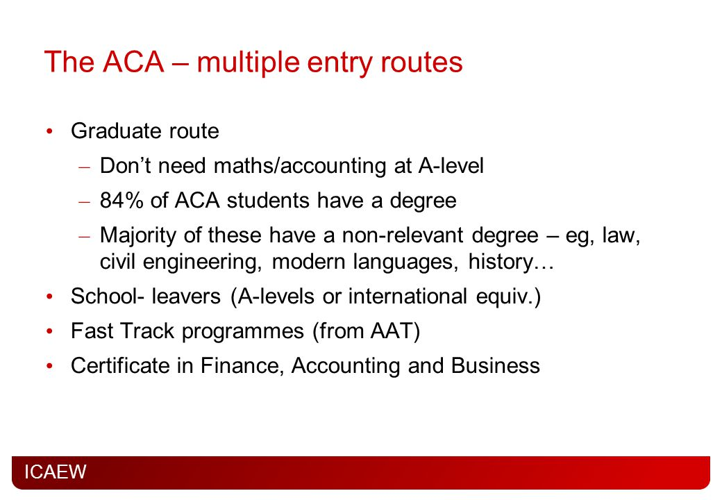 ICAEW The ACA – multiple entry routes Graduate route – Don't need maths/accounting at A-level – 84% of ACA students have a degree – Majority of these have a non-relevant degree – eg, law, civil engineering, modern languages, history… School- leavers (A-levels or international equiv.) Fast Track programmes (from AAT) Certificate in Finance, Accounting and Business