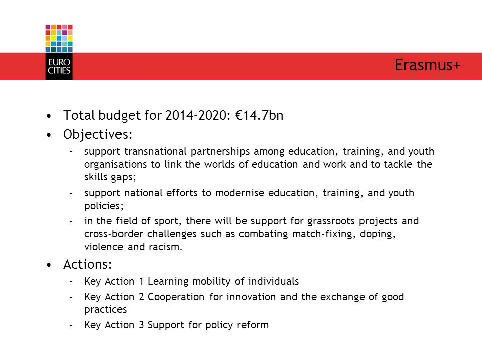 Erasmus+ Total budget for 2014-2020: €14.7bn Objectives: –support transnational partnerships among education, training, and youth organisations to link the worlds of education and work and to tackle the skills gaps; –support national efforts to modernise education, training, and youth policies; –in the field of sport, there will be support for grassroots projects and cross-border challenges such as combating match-fixing, doping, violence and racism.