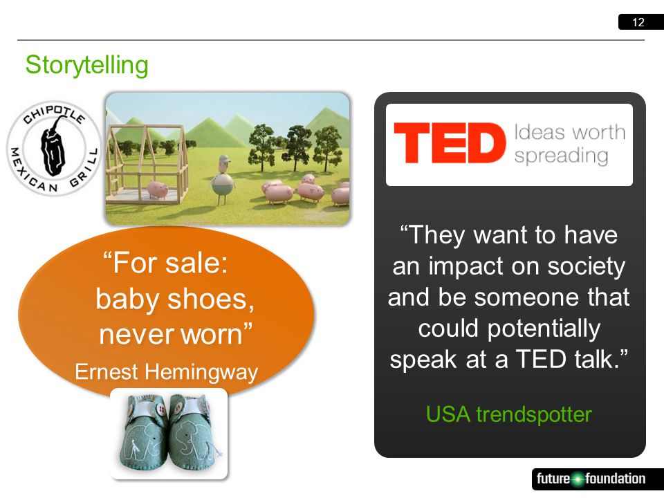 12 Storytelling They want to have an impact on society and be someone that could potentially speak at a TED talk. USA trendspotter For sale: baby shoes, never worn Ernest Hemingway For sale: baby shoes, never worn Ernest Hemingway