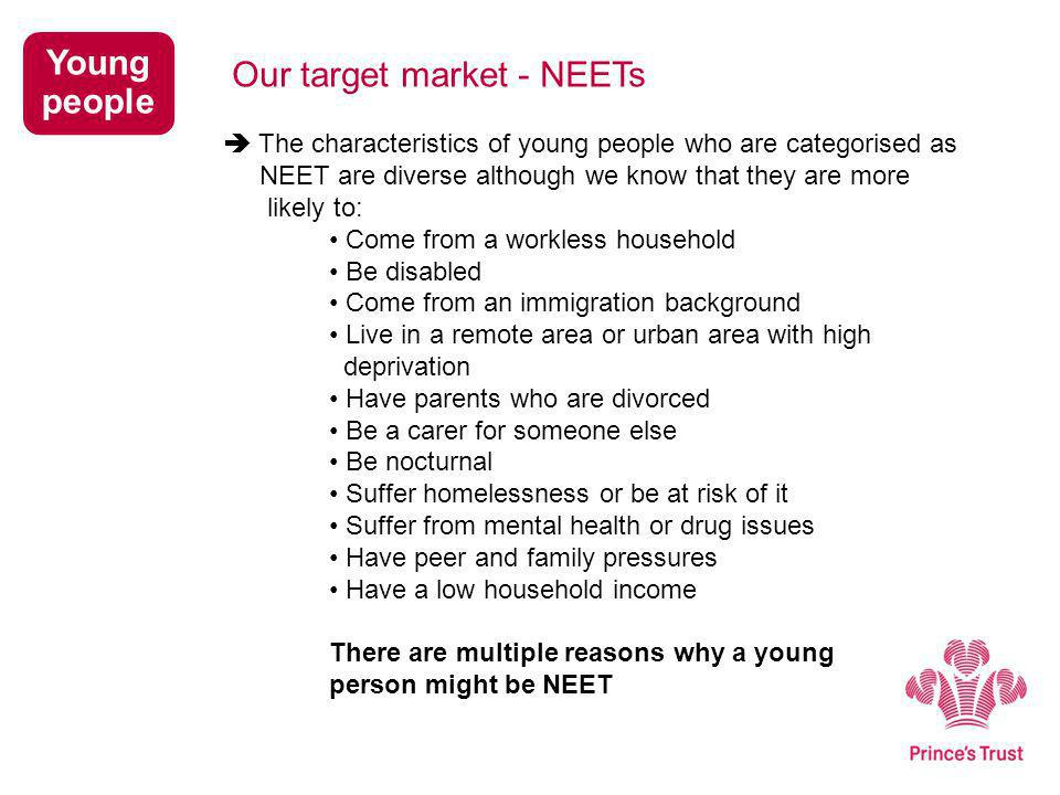  The characteristics of young people who are categorised as NEET are diverse although we know that they are more likely to: Come from a workless household Be disabled Come from an immigration background Live in a remote area or urban area with high deprivation Have parents who are divorced Be a carer for someone else Be nocturnal Suffer homelessness or be at risk of it Suffer from mental health or drug issues Have peer and family pressures Have a low household income There are multiple reasons why a young person might be NEET Young people Our target market - NEETs