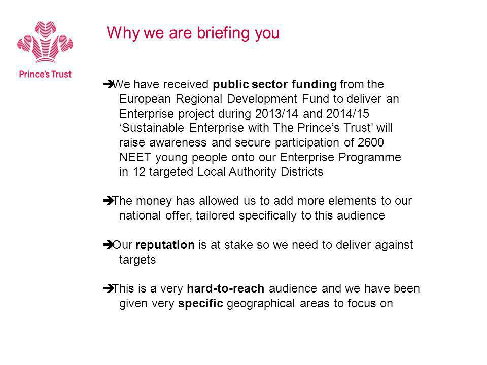  We have received public sector funding from the European Regional Development Fund to deliver an Enterprise project during 2013/14 and 2014/15 'Sustainable Enterprise with The Prince's Trust' will raise awareness and secure participation of 2600 NEET young people onto our Enterprise Programme in 12 targeted Local Authority Districts  The money has allowed us to add more elements to our national offer, tailored specifically to this audience  Our reputation is at stake so we need to deliver against targets  This is a very hard-to-reach audience and we have been given very specific geographical areas to focus on Why we are briefing you