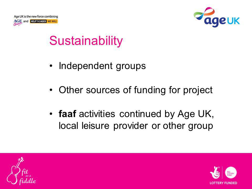Sustainability Independent groups Other sources of funding for project faaf activities continued by Age UK, local leisure provider or other group