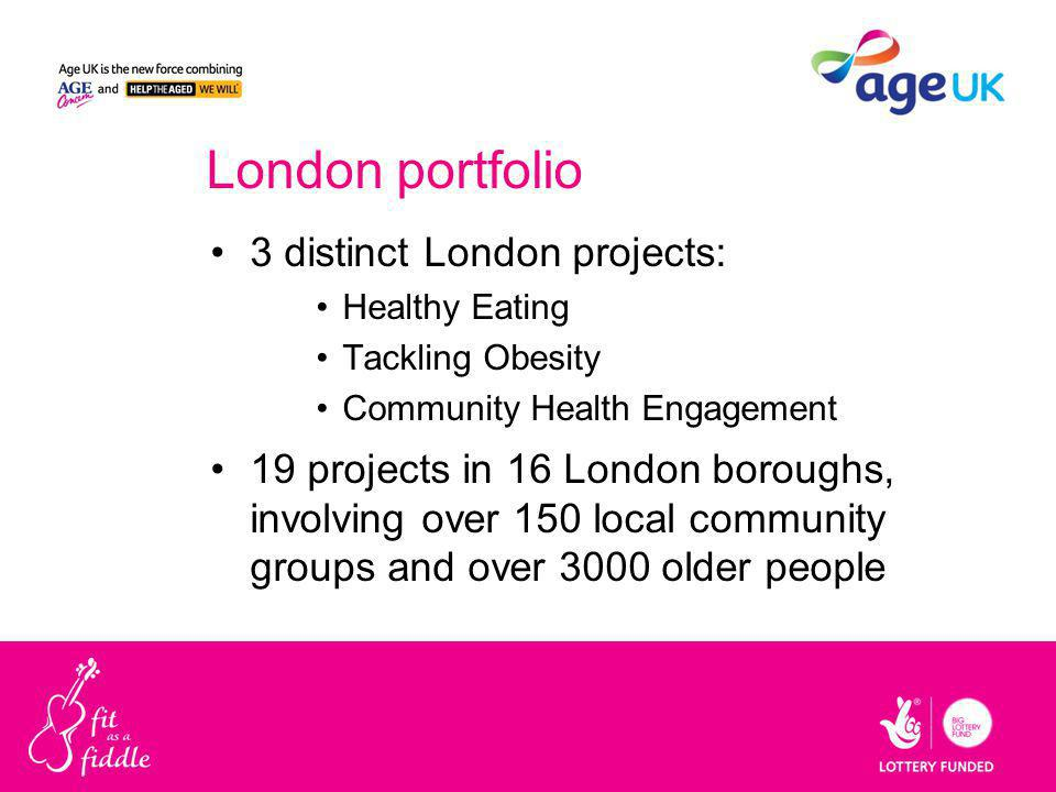 London portfolio 3 distinct London projects: Healthy Eating Tackling Obesity Community Health Engagement 19 projects in 16 London boroughs, involving over 150 local community groups and over 3000 older people