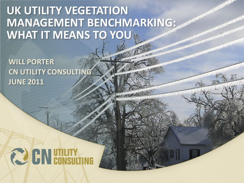 UK UTILITY VEGETATION MANAGEMENT BENCHMARKING: WHAT IT MEANS TO YOU WILL PORTER CN UTILITY CONSULTING JUNE 2011 WILL PORTER CN UTILITY CONSULTING JUNE 2011