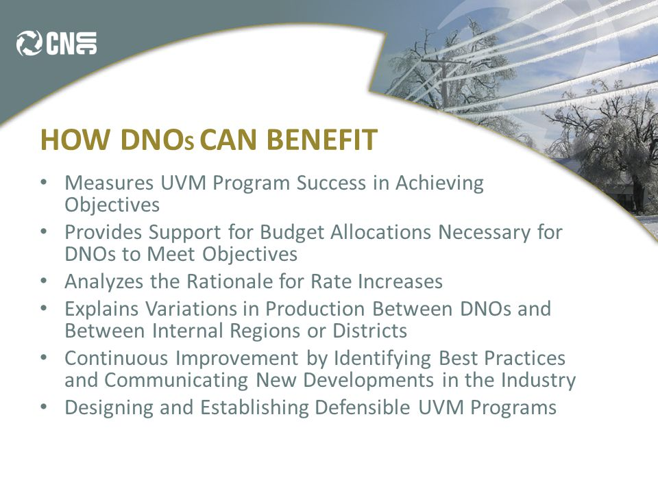 HOW DNO S CAN BENEFIT Measures UVM Program Success in Achieving Objectives Provides Support for Budget Allocations Necessary for DNOs to Meet Objectives Analyzes the Rationale for Rate Increases Explains Variations in Production Between DNOs and Between Internal Regions or Districts Continuous Improvement by Identifying Best Practices and Communicating New Developments in the Industry Designing and Establishing Defensible UVM Programs