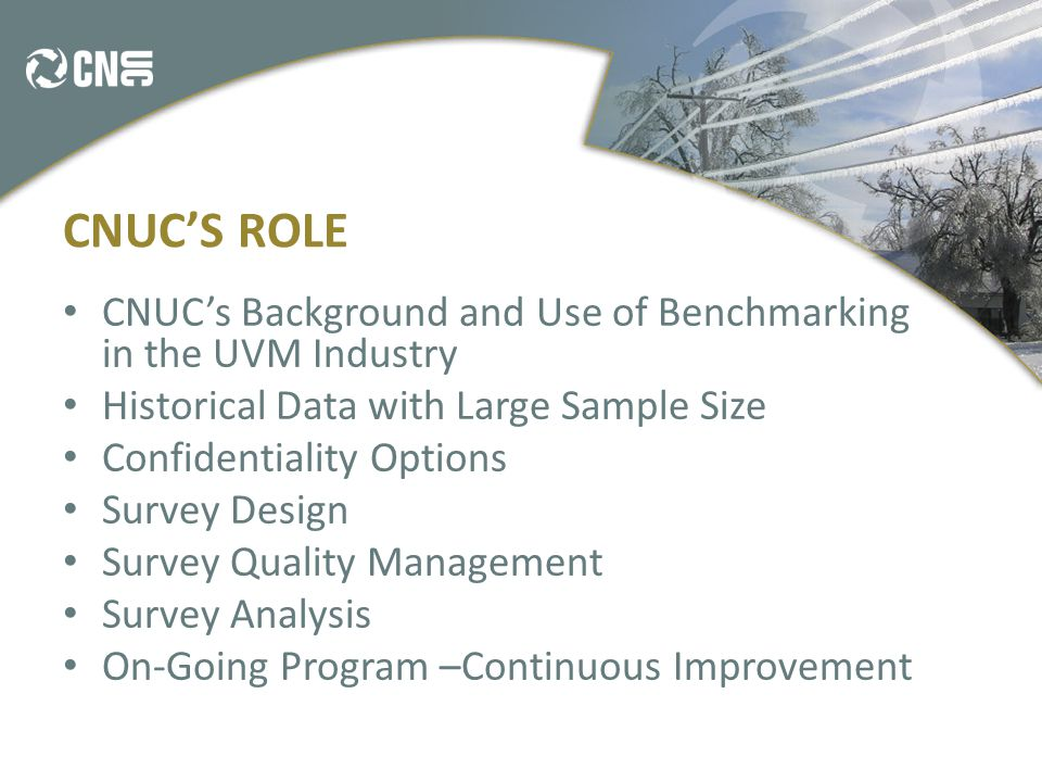 CNUC'S ROLE CNUC's Background and Use of Benchmarking in the UVM Industry Historical Data with Large Sample Size Confidentiality Options Survey Design Survey Quality Management Survey Analysis On-Going Program –Continuous Improvement