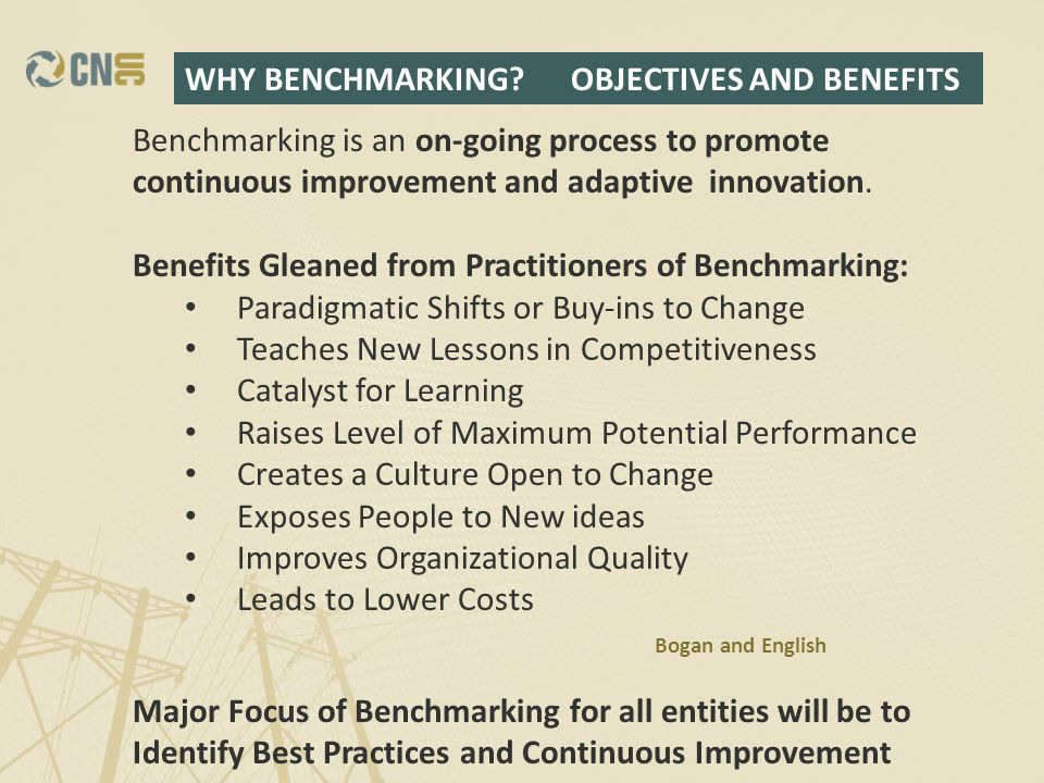 Benchmarking is an on-going process to promote continuous improvement and adaptive innovation.