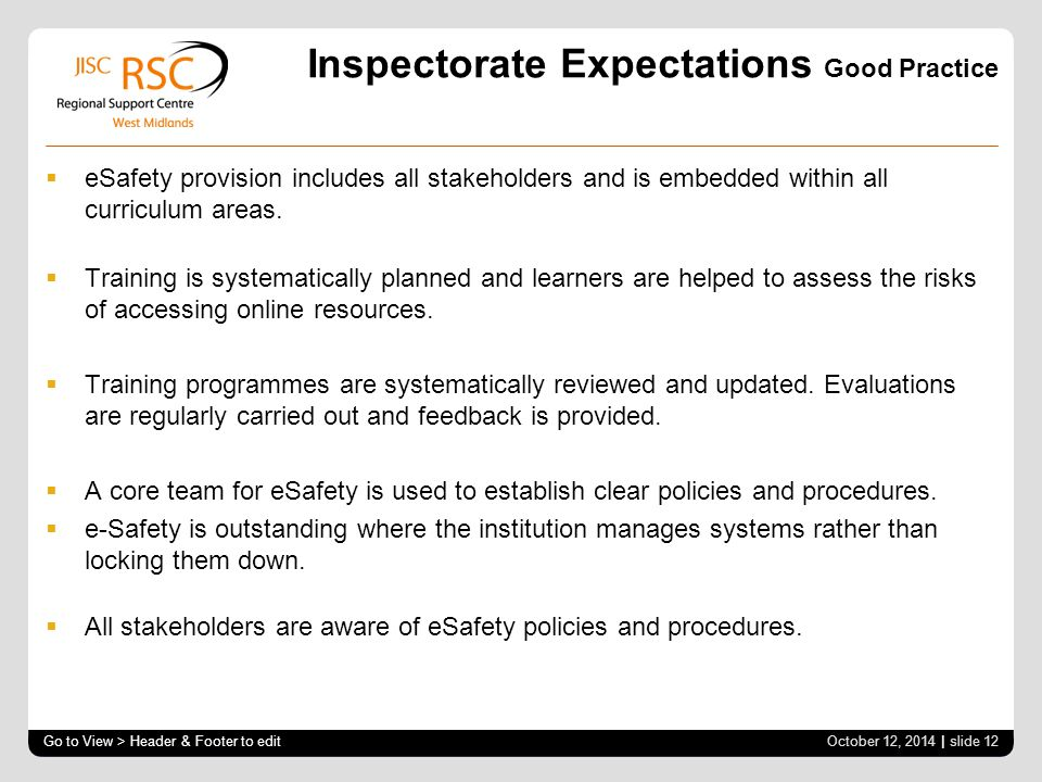 Inspectorate Expectations Good Practice  eSafety provision includes all stakeholders and is embedded within all curriculum areas.