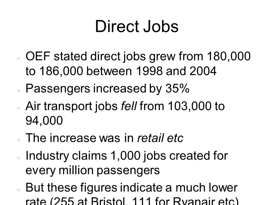 Direct Jobs OEF stated direct jobs grew from 180,000 to 186,000 between 1998 and 2004 Passengers increased by 35% Air transport jobs fell from 103,000 to 94,000 The increase was in retail etc Industry claims 1,000 jobs created for every million passengers But these figures indicate a much lower rate (255 at Bristol, 111 for Ryanair etc)