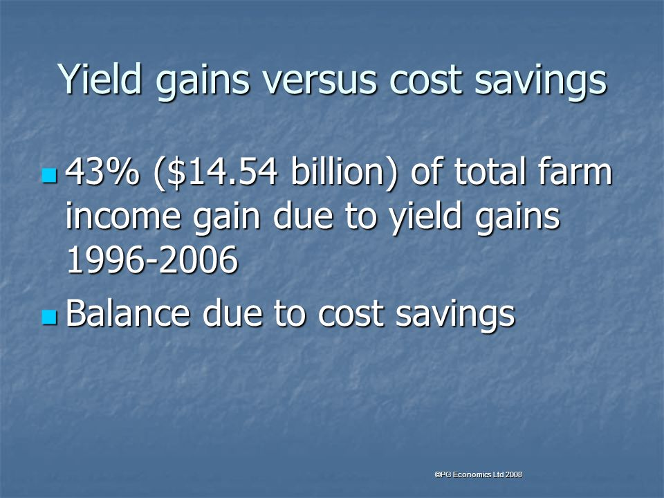 Yield gains versus cost savings 43% ($14.54 billion) of total farm income gain due to yield gains 1996-2006 43% ($14.54 billion) of total farm income