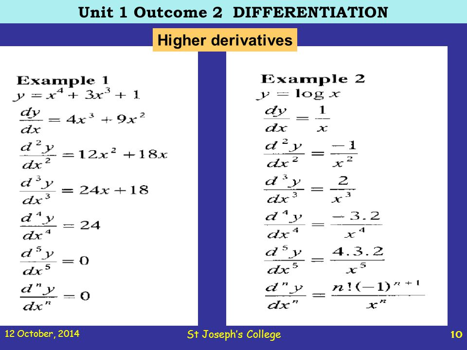 12 October, 2014 St Joseph's College 10 Unit 1 Outcome 2 DIFFERENTIATION Higher derivatives