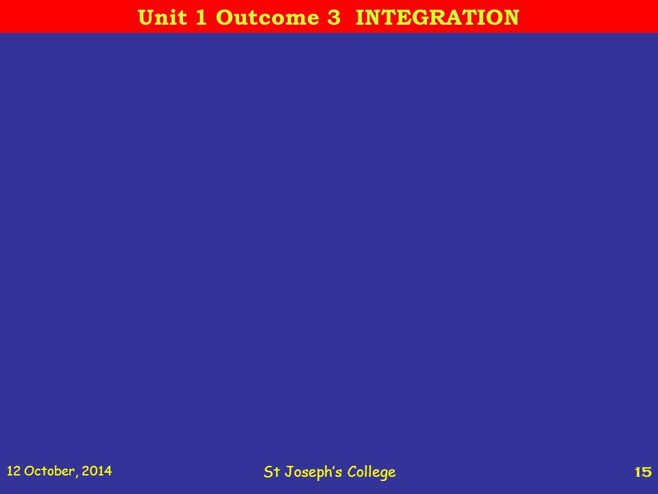 12 October, 2014 St Joseph's College 15 Unit 1 Outcome 3 INTEGRATION