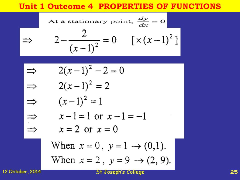 12 October, 2014 St Joseph's College 25 Unit 1 Outcome 4 PROPERTIES OF FUNCTIONS