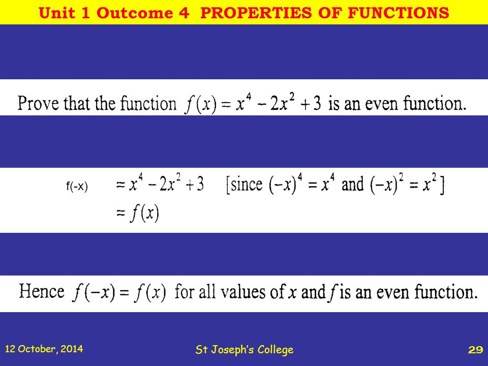 12 October, 2014 St Joseph's College 29 f(-x) Unit 1 Outcome 4 PROPERTIES OF FUNCTIONS