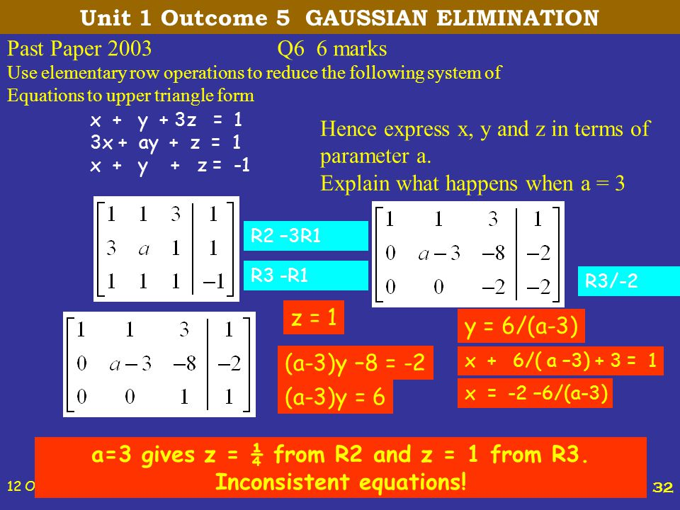 12 October, 2014 St Joseph's College 32 Past Paper 2003Q6 6 marks Use elementary row operations to reduce the following system of Equations to upper t