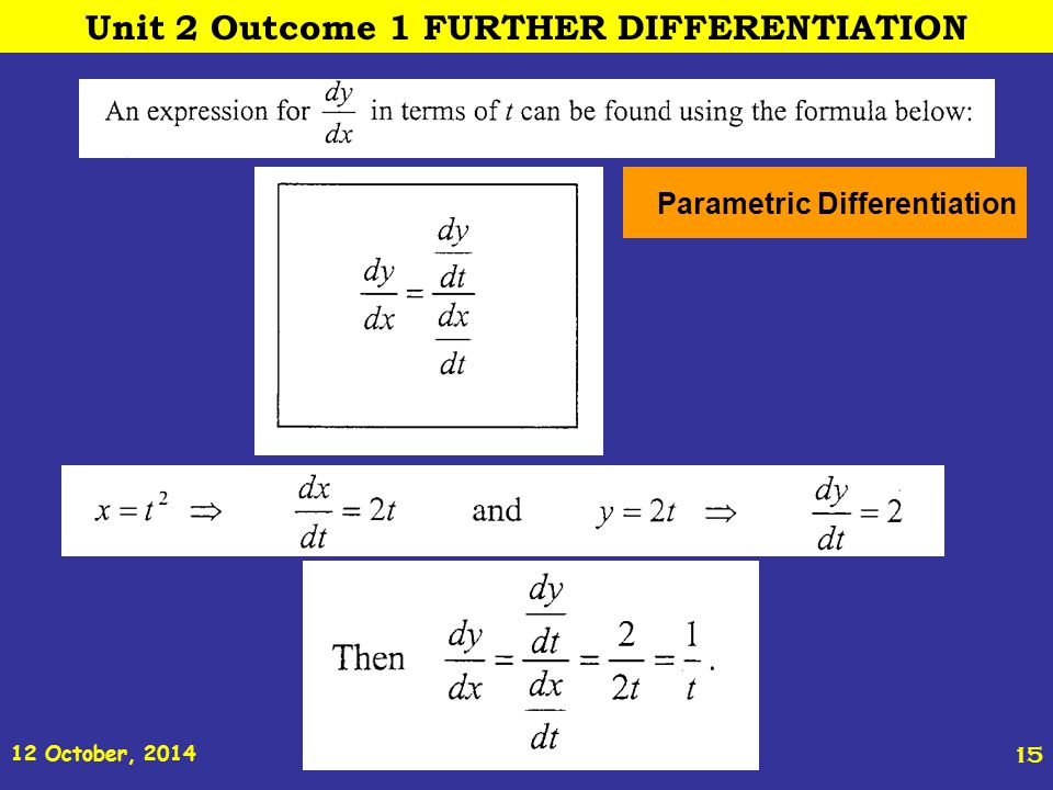 12 October, 2014 St Joseph s College ADVANCED HIGHER REVISION 15 Parametric Differentiation Unit 2 Outcome 1 FURTHER DIFFERENTIATION
