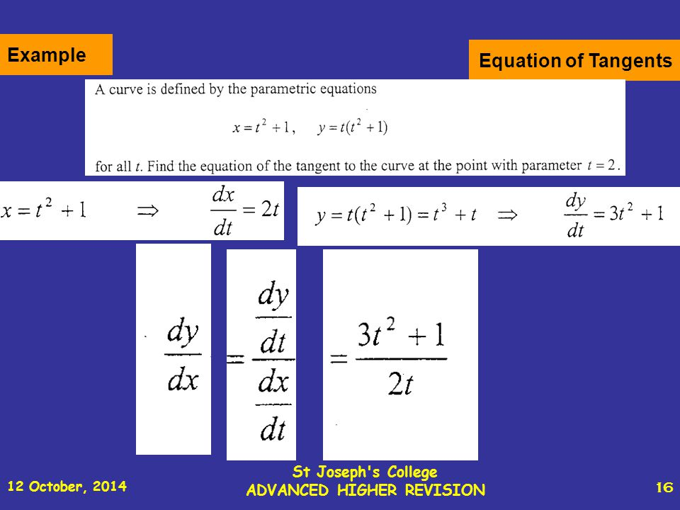 12 October, 2014 St Joseph s College ADVANCED HIGHER REVISION 16 Equation of Tangents Example