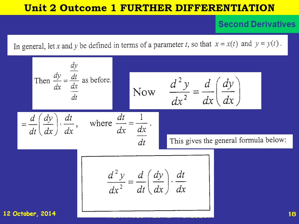 12 October, 2014 St Joseph s College ADVANCED HIGHER REVISION 18 Second Derivatives Unit 2 Outcome 1 FURTHER DIFFERENTIATION