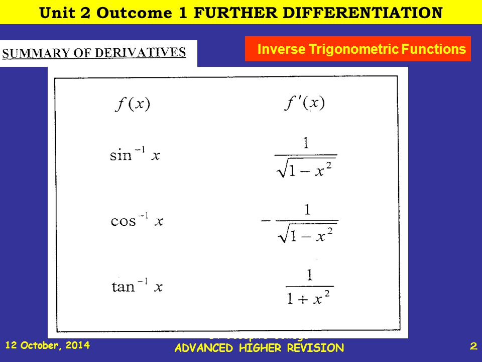 12 October, 2014 St Joseph s College ADVANCED HIGHER REVISION 23 Unit 2 Outcome 2 FURTHER INTEGRATION