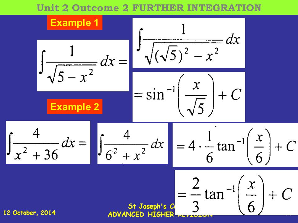 12 October, 2014 St Joseph s College ADVANCED HIGHER REVISION 24 Example 1 Example 2 Unit 2 Outcome 2 FURTHER INTEGRATION