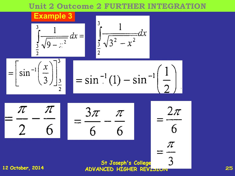 12 October, 2014 St Joseph s College ADVANCED HIGHER REVISION 25 Example 3 Unit 2 Outcome 2 FURTHER INTEGRATION