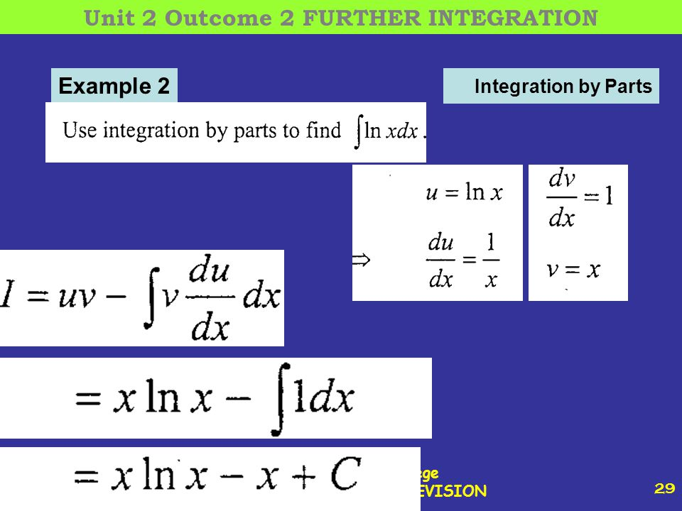 12 October, 2014 St Joseph s College ADVANCED HIGHER REVISION 29 Integration by Parts Example 2 Unit 2 Outcome 2 FURTHER INTEGRATION