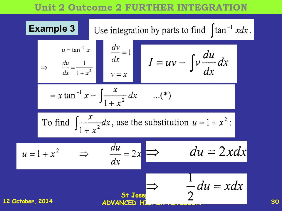 12 October, 2014 St Joseph s College ADVANCED HIGHER REVISION 30 Example 3 Unit 2 Outcome 2 FURTHER INTEGRATION