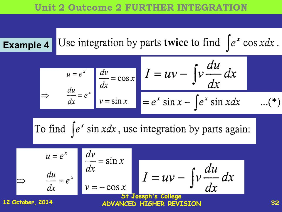 12 October, 2014 St Joseph s College ADVANCED HIGHER REVISION 32 Example 4 Unit 2 Outcome 2 FURTHER INTEGRATION