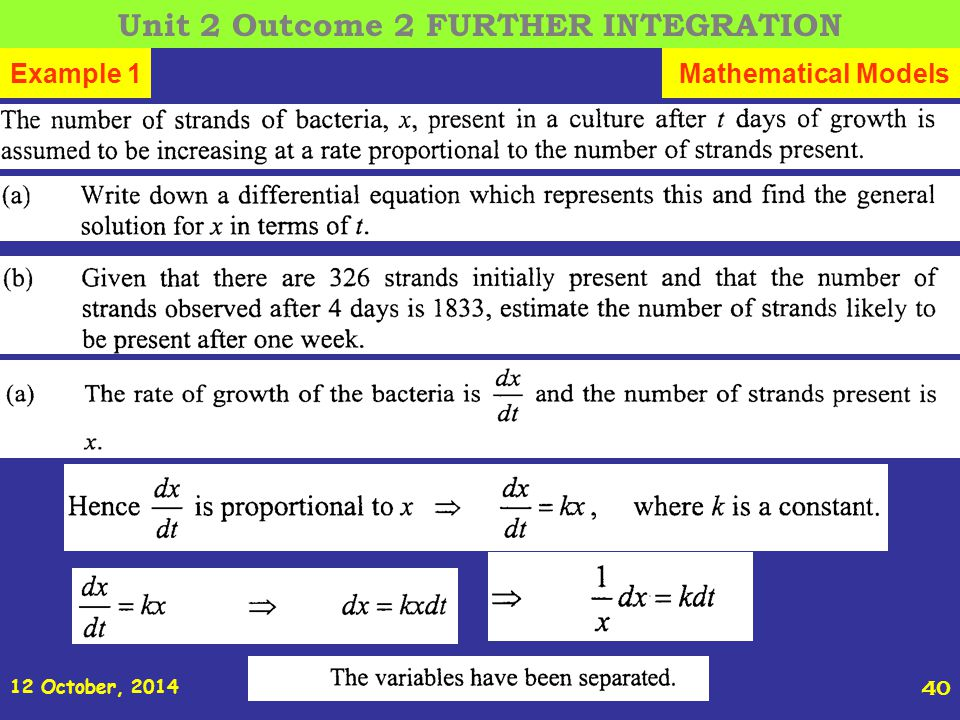 12 October, 2014 St Joseph s College ADVANCED HIGHER REVISION 40 Example 1Mathematical Models Unit 2 Outcome 2 FURTHER INTEGRATION