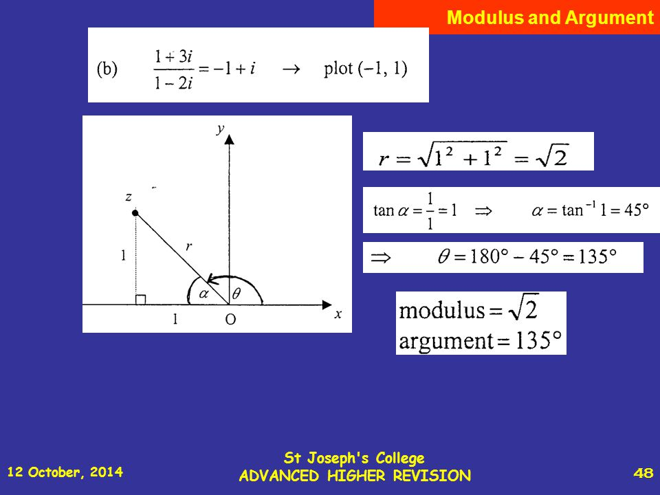 12 October, 2014 St Joseph s College ADVANCED HIGHER REVISION 48 Modulus and Argument