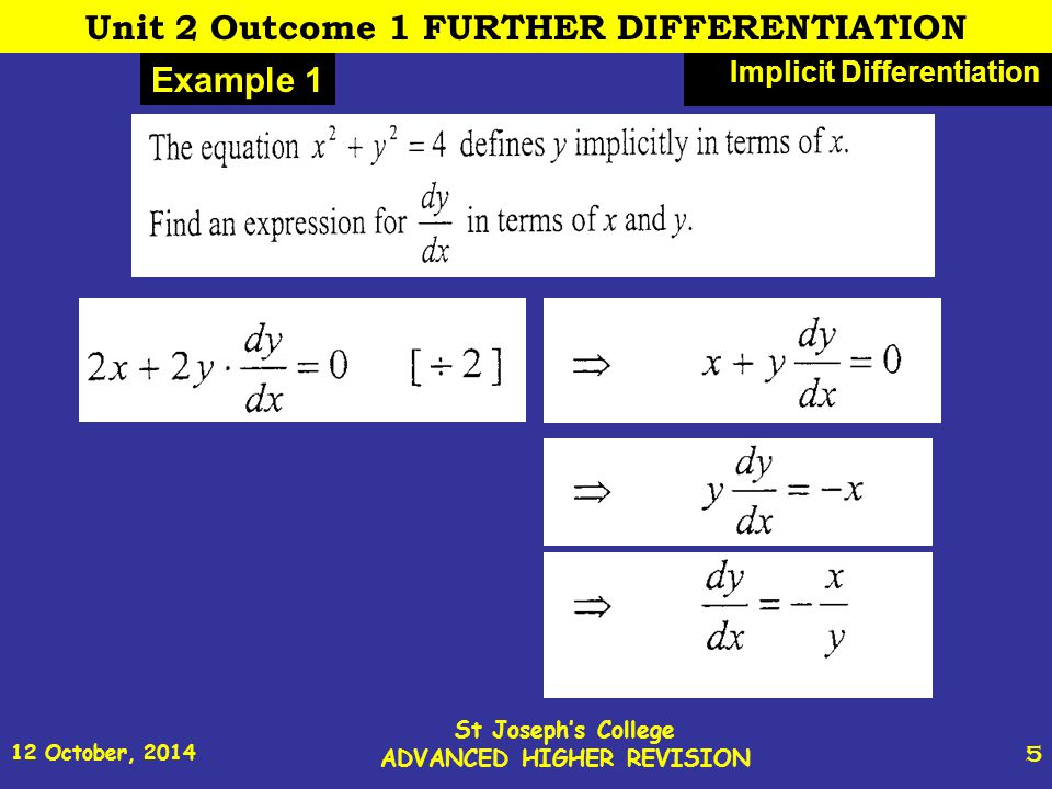 12 October, 2014 St Joseph's College ADVANCED HIGHER REVISION 5 Example 1 Implicit Differentiation Unit 2 Outcome 1 FURTHER DIFFERENTIATION