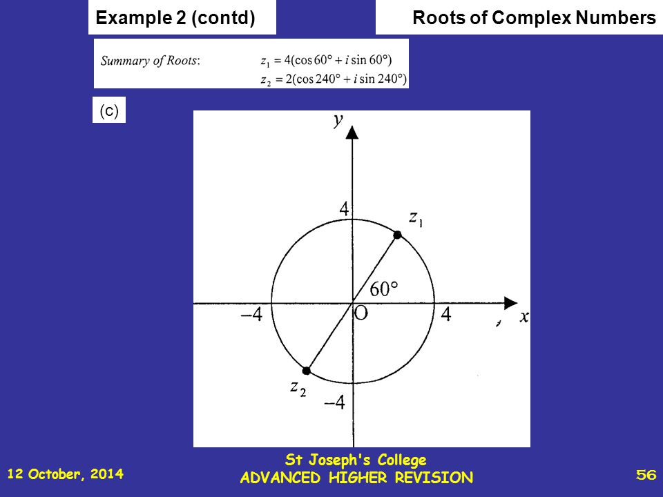 12 October, 2014 St Joseph s College ADVANCED HIGHER REVISION 56 Roots of Complex NumbersExample 2 (contd) (c)