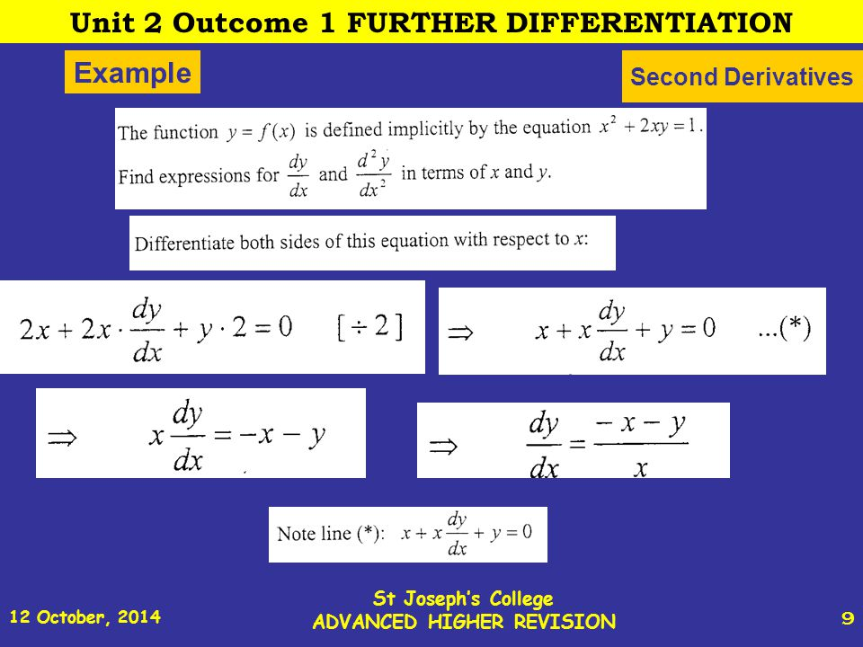 12 October, 2014 St Joseph s College ADVANCED HIGHER REVISION 10 Example (contd) Second Derivatives 2 Unit 2 Outcome 1 FURTHER DIFFERENTIATION