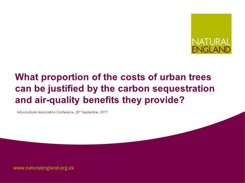 Conclusion Torbay's urban forest offers an annual air-quality benefit of £1.33 million per year.