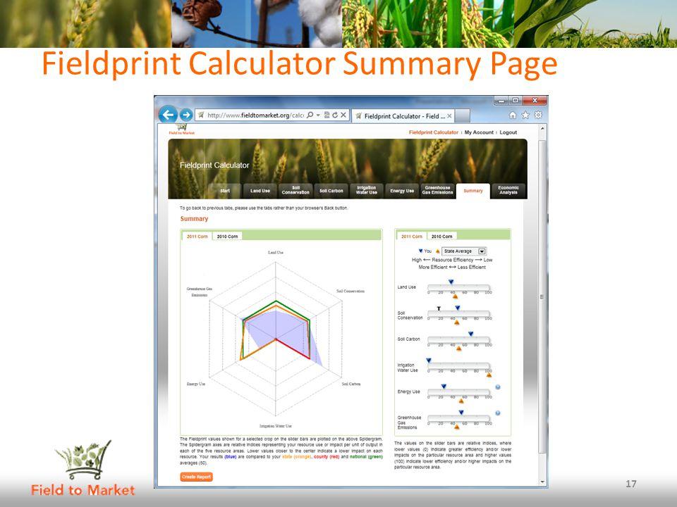 Fieldprint Calculator Summary Page 17