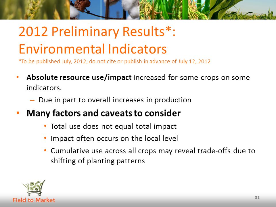 2012 Preliminary Results*: Environmental Indicators *To be published July, 2012; do not cite or publish in advance of July 12, 2012 Absolute resource use/impact increased for some crops on some indicators.