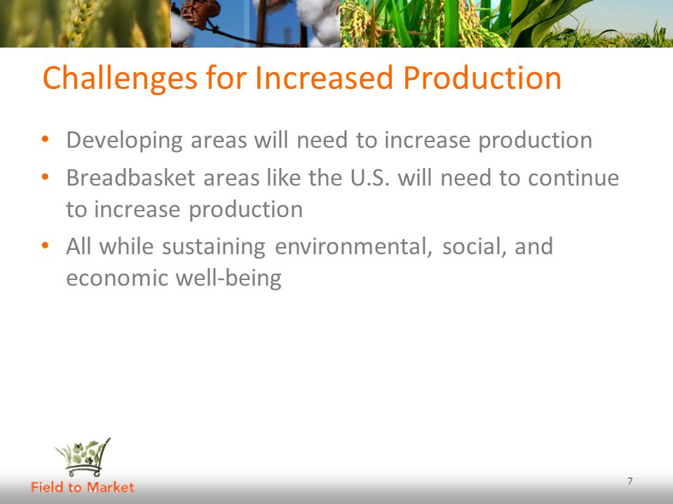 Challenges for Increased Production Developing areas will need to increase production Breadbasket areas like the U.S.