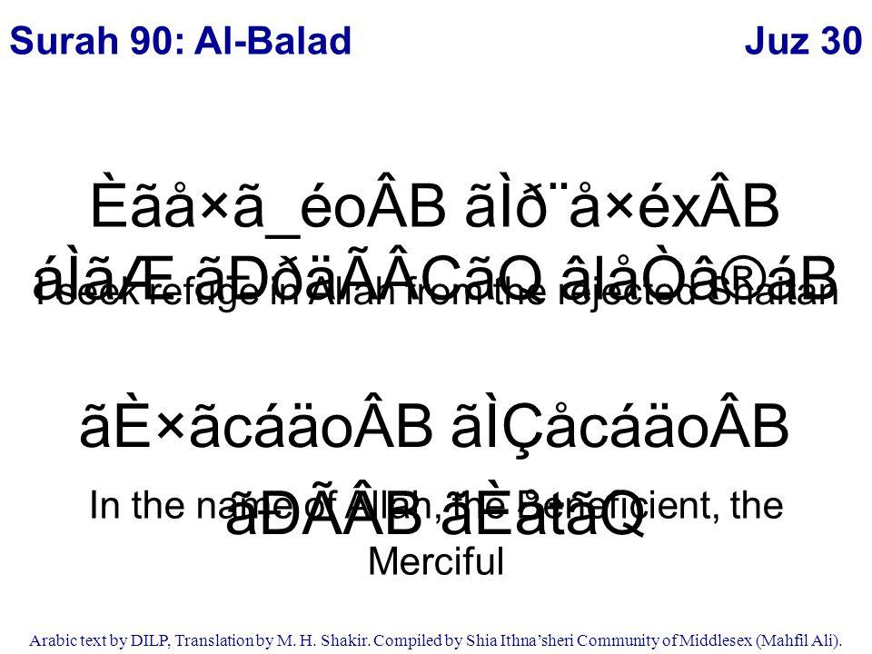 Juz 30 Arabic text by DILP, Translation by M.H. Shakir.