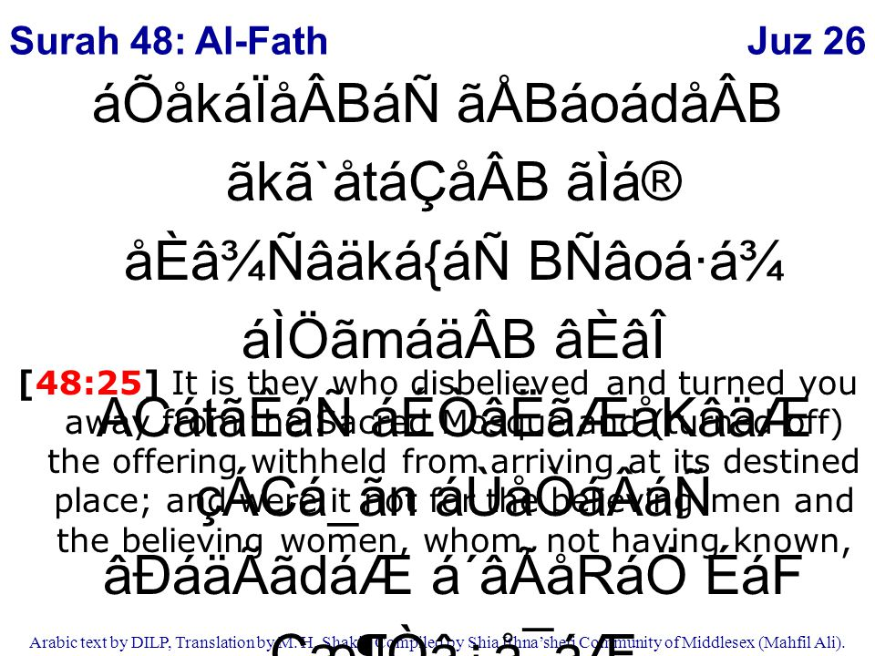 Juz 26 Arabic text by DILP, Translation by M. H. Shakir. Compiled by Shia Ithna'sheri Community of Middlesex (Mahfil Ali). áÕåkáÏåÂBáÑ ãÅBáoádåÂB ãkã`