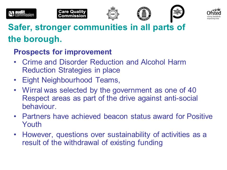 Safer, stronger communities in all parts of the borough.