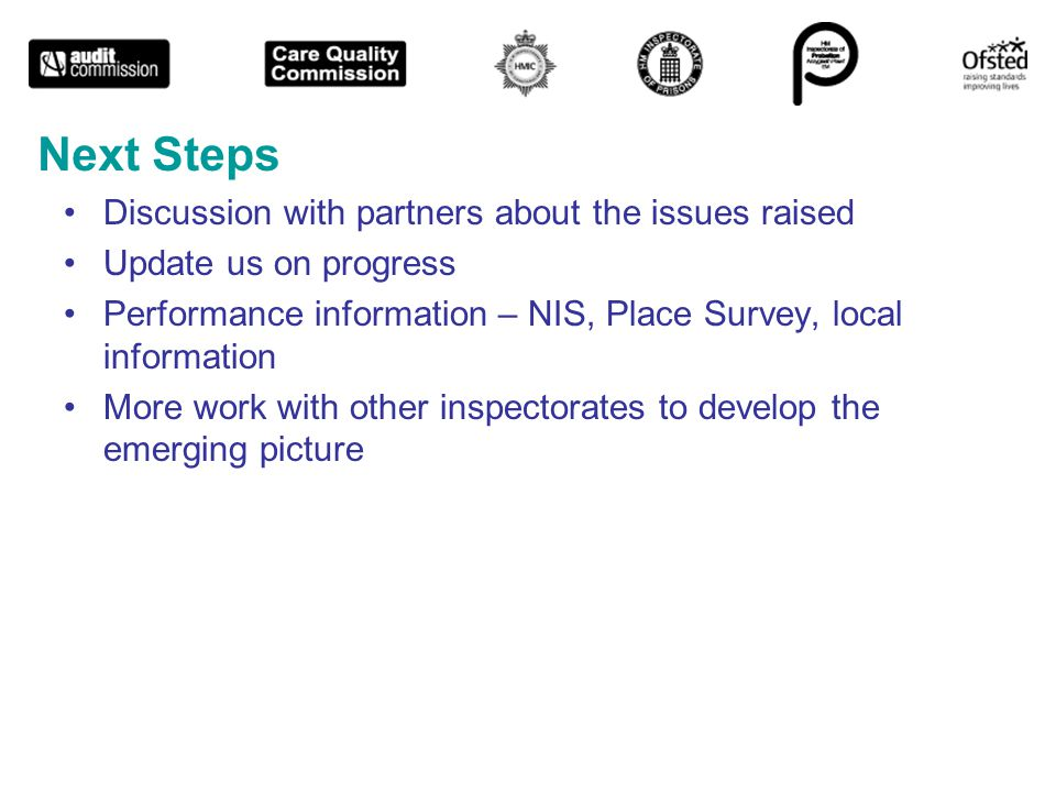 Next Steps Discussion with partners about the issues raised Update us on progress Performance information – NIS, Place Survey, local information More work with other inspectorates to develop the emerging picture