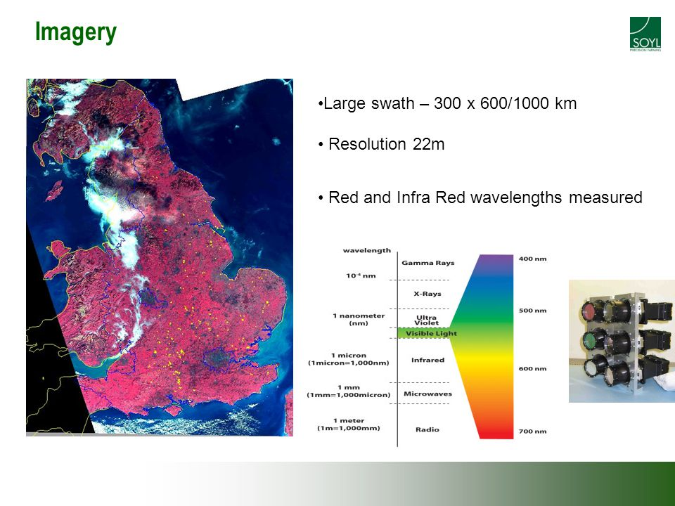 Imagery Red and Infra Red wavelengths measured Large swath – 300 x 600/1000 km Resolution 22m