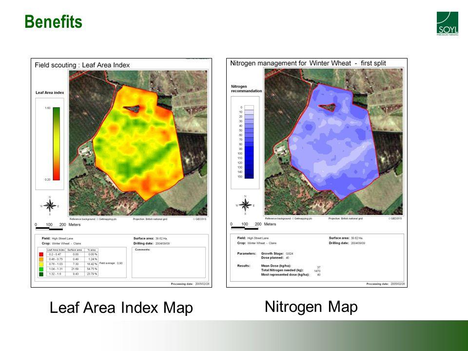 Benefits Leaf Area Index Map Nitrogen Map