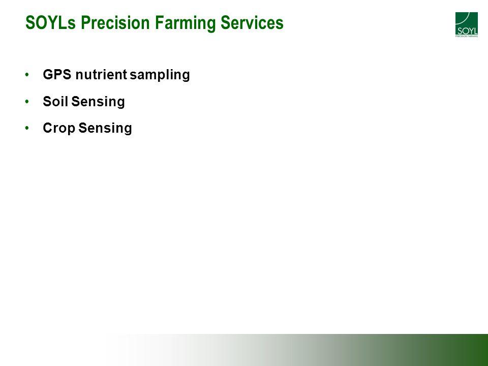 SOYLs Precision Farming Services GPS nutrient sampling Soil Sensing Crop Sensing