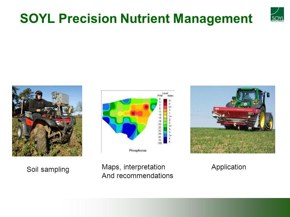 SOYL Precision Nutrient Management Soil sampling ApplicationMaps, interpretation And recommendations