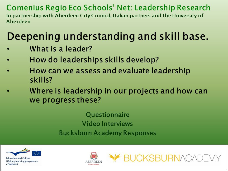 Deepening understanding and skill base. What is a leader.