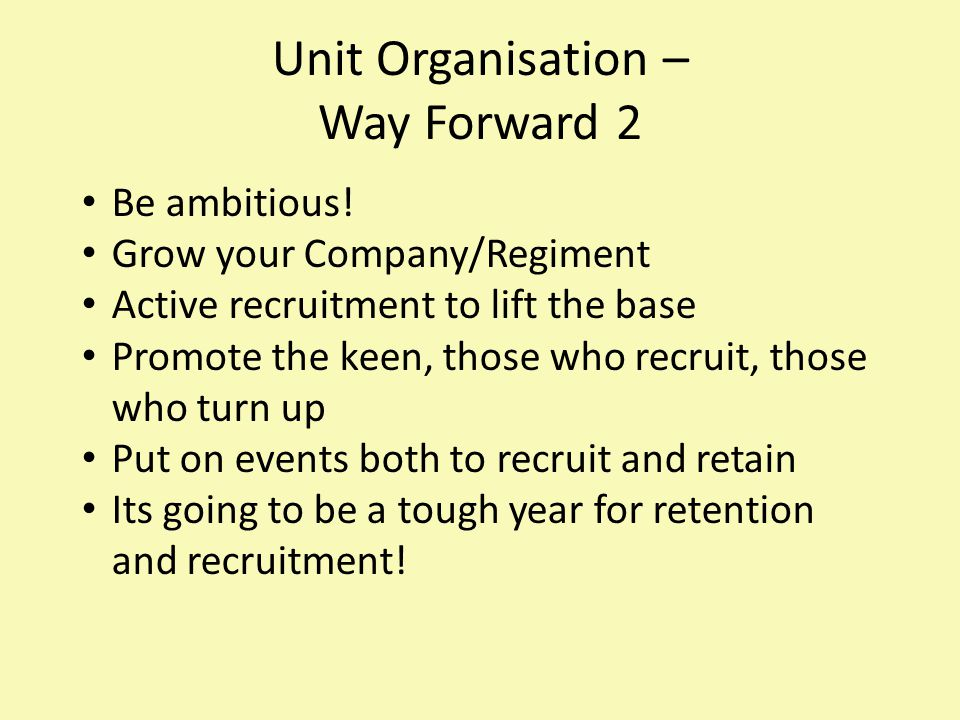 Unit Organisation – Way Forward 2 Be ambitious.